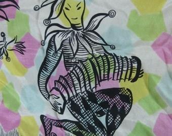 Vintage Mid Century Jester Concertina Silk Scarf Clown Harlequin