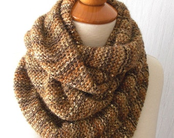 Circle Scarf,  Cowl, In Light Brown Copper Coffee with Lurex Metallic Thread for Women SALE