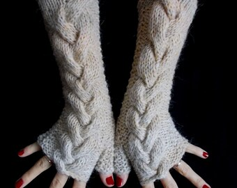 Handknit Fingerless winter Gloves Wrist Warmers Light Brown Beige Natural White Cabled with Alpaca Angora