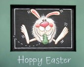 Hoppy Easter Sign, Bunny Sign, Framed Green, Hand Painted, Wall Hanging, Tole Painted, Reclaimed Wood Frame,Bunny with Easter Egg