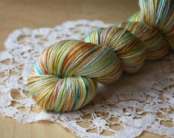Hand Dyed Yarn / Fingering Weight / Summer Orange Turquoise Chartreuse Verdigris Silk Merino Wool