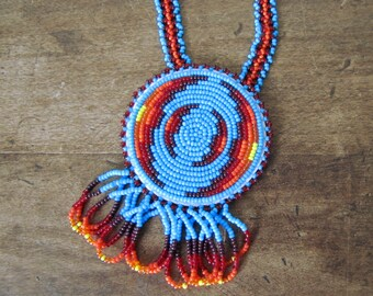 Buffalo Girl - Vintage native American Beaded Medallion Necklace Pendant