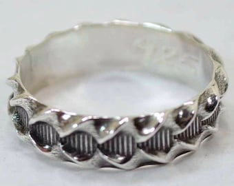 Pattern Ring Sterling Silver 925 Size 6  Ready To Ship
