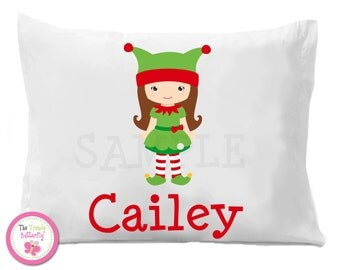 Christmas Girl Elf Pillowcase , Children's Personalized Pillow Case Boy or Girl