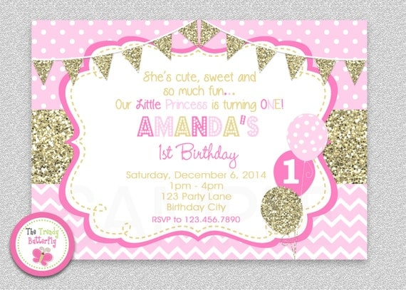 Pink and Gold invitation 1st Birthday Invitation Girl – Pink 1st Birthday Invitations
