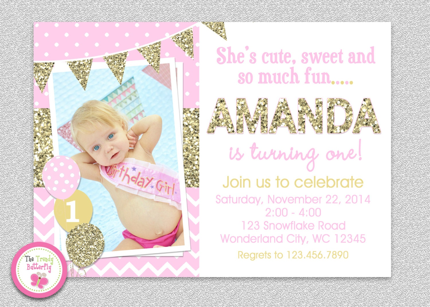 Pink And Gold Invitation 1st Birthday Invitation Girl