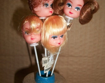 Vintage Plastic Vinyl Doll Head on a Stick