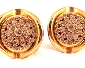 BOLD Statement Sparkling Bright Runway Couture Ice Diamond Rhinestones Golden Clip on Earrings Authentic Designer Vintage Jewelry 70s 80s