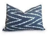 F. Schumacher - Kasari Ikat Pillow Cover - 12x18 inch - Graphite - Black - Gray - IKAT - CHEVRON - Designer Pillow - Designer Fabric