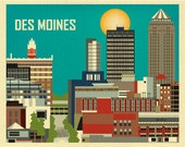 Des Moines Print, Iowa Wall Art, Des Moines Skyline Print, Des Moines horizontal Art, Iowa Dorm, Office, Wall Art Decor - style E8-O-DES