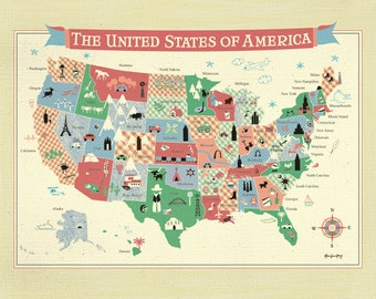 United States Map of America Poster,  Wall Art Print for Children' room or Nursery, 11 x 14 horizontal - E11-O-MAP