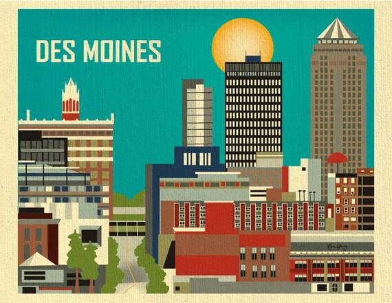 Des Moines Print Iowa Wall Art Des Moines Skyline Print Des