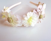 Flower crown headband: lavender and cream, natalie