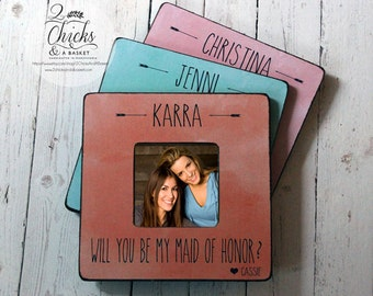 Custom Wedding Party Picture Frames (Set of 3), Boho Chic Wedding Frames, Personalized Wedding Frames