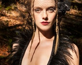 Black Feather Vest, Black Halter, Steampunk ,Burning Man Festival, Tribal Vest, Goth, Black Feather Top, Alternative Fashion, Vampire