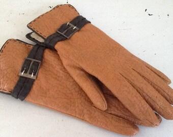Brown Leather Gloves / Vintage Leather Gloves