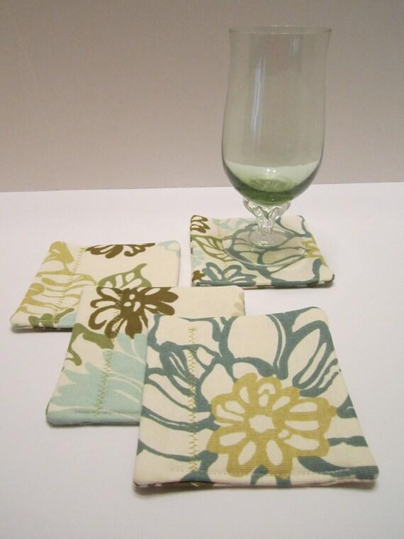 Fabric Drink Coasters Mug Rugs - Floral Print Aqua Teal Sage Green Moss Green on Cream Set of 4 - LAST SET