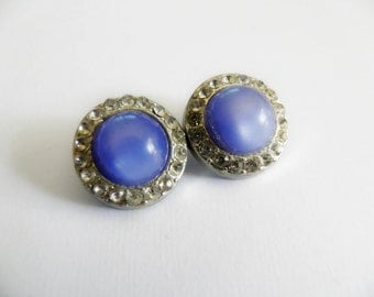 Blue Buttons with Rhinestones