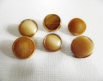 Vintage Caramel Glass Buttons