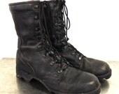 vintage black combat boots - 1960s Vietnam-era black military boots