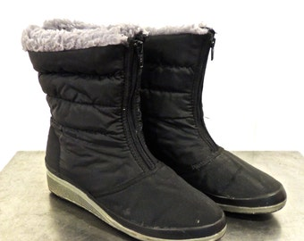 SALE vintage shearling-lined snow boots - 1980s Mudkats black zip-front boots size 8