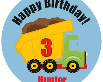 construction birthday stickers - personalized construction sticker - bulldozer, construction building