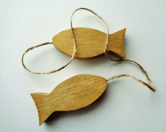 Wood Fish Rustic Home Decor Hanging Decoration Lake House Kid's Room Fishing