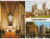 Canterbury Cathedral Vintage Postcard Souvenir from Kent England - Multi Views of English Castle and Church Interior  - John Hinde Post Card