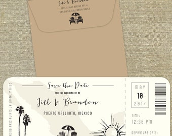 Mexico Plane Ticket save the date; destination wedding; elope; mexico save the date SAMPLE