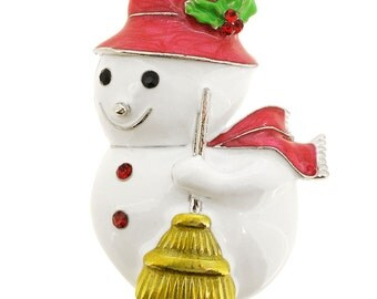 White Christmas Snowman Pin Brooch 1003032