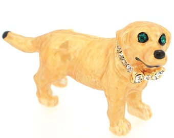 Brown Swarovski Crystal Dog Pin Brooch 1003242