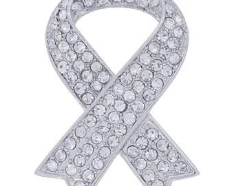 white Ribbon Crystal Pin Brooch 1003351