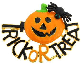 Trick orTreat Pumpkin With Spider Halloween Pin Brooch And Pendant 1011371