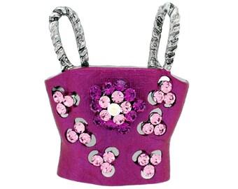 Fuchsia Pink Women Tube Top Swarovski Crystal Brooch Pin 1011782