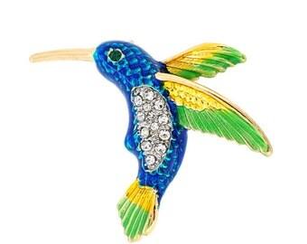 Multicolor Hummingbird Crystal Pin Brooch 1003972