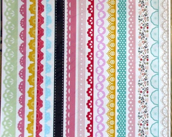 16  vinyl borders stickers  for gift wrapping embelishment and card making scrapbooking