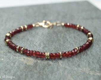 Garnet Bracelet, Garnet Jewelry, Brass, Beaded, Layering Bracelet, Gemstone Jewelry