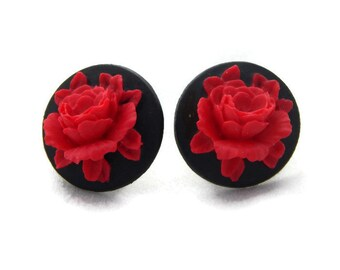 Black and Red Rose Cameo Earrings Rockabilly, Pinup, Vintage Inspired Jewelry