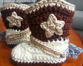 Crochet unisex cowgirl or cowboy baby booties - 4 sizes available