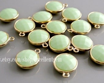 4-10 Earring charm Faceted Mint glass Earring Charm Pendant 18k Gold plated over Brass jewelry making Lead free Nickel free- FGC - 011