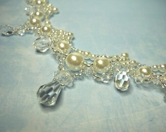 White Glass Pearls and Swarovski crystals necklace