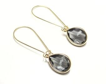 Gift Gray earrings Grey earrings Teardrop earrings Tear drop earrings Dangle earrings Drop earrings Bridal earrings Bridesmaid earrings Gift