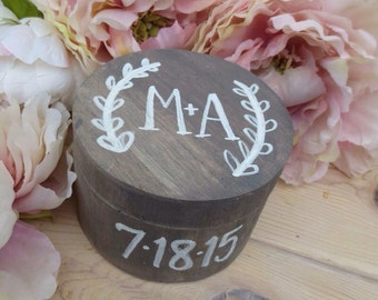 Personalized ring box, rustic ring pillow, custom initials and date, hand painted calligraphy