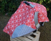 Baby Car Seat Canopy - Baby Car Seat Cover - Coral Car Seat Canopy - Grey Car Seat Canopy - Baby Shower Gift - Girls Car Seat Canopy