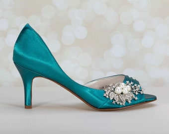 Wedding Shoes -  Peacock - Pearl Crystal Embellishment - Choose From Over 200 Colors - Different Heel Heights - Wedding Shoes - Wedding Heel