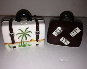 Vintage Pair of Luggage Salt and Pepper Shakers
