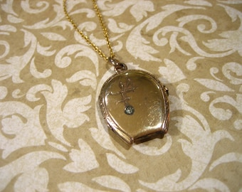 Victorian Gold Filled Locket Necklace w Paste Stone