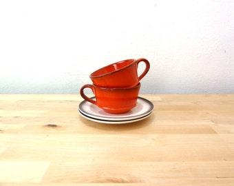 Vintage Metlox Red Mugs / Poppytrail Red Rooster / Orange Coffee Cup / Wide Mouth Mug / Collectible Kitchen  / Pottery Mug