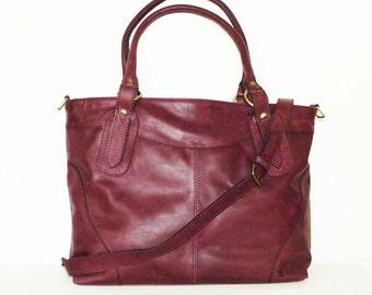 "Nora Bis. Leather tote bag handbag leather cross-body bag large leather laptop bag // fits a 15"" laptop"