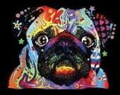 Unisex Black Light T Shirt New Pug T Shirt Neon Florescent Dog Print  19050NBT4